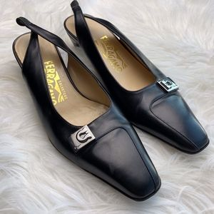 Salvatore Ferragamo Leather Bit Slingback Heels